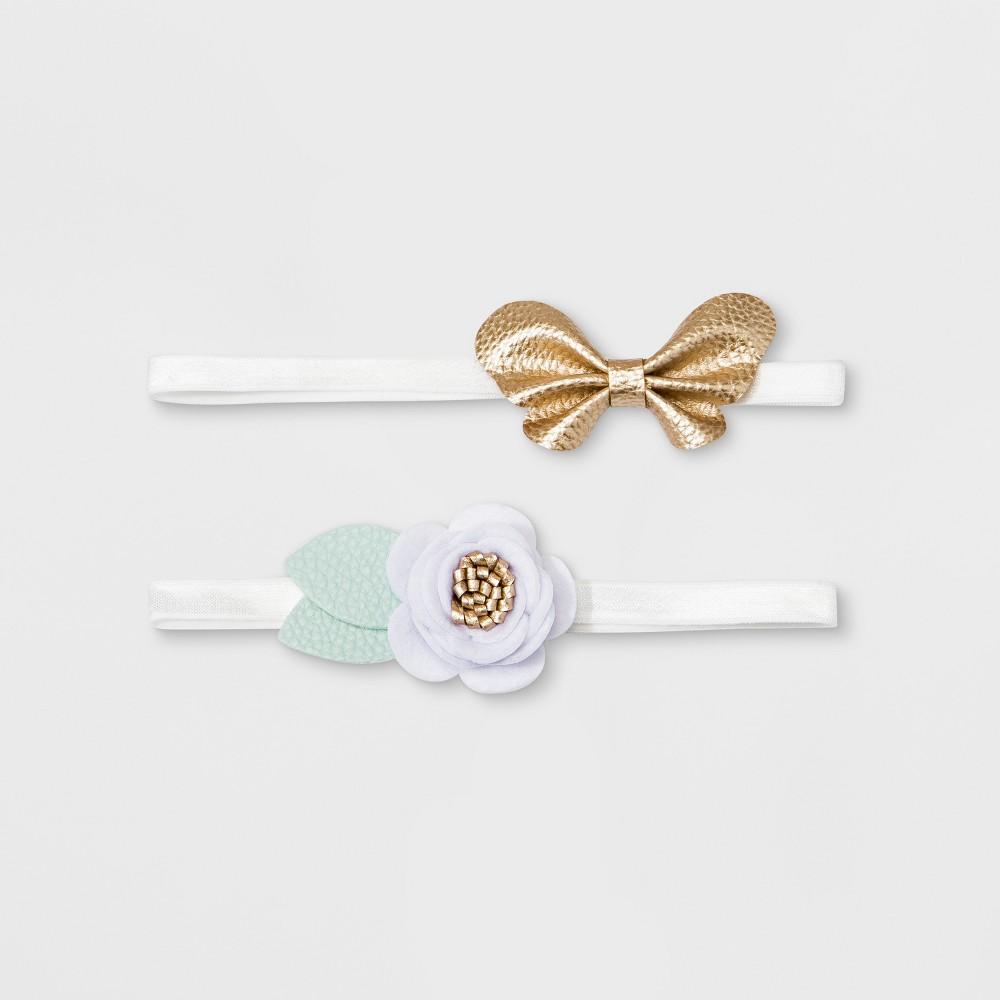 Baby Girls' 2pk Headbands - Cloud Island One Size, Multi-Colored