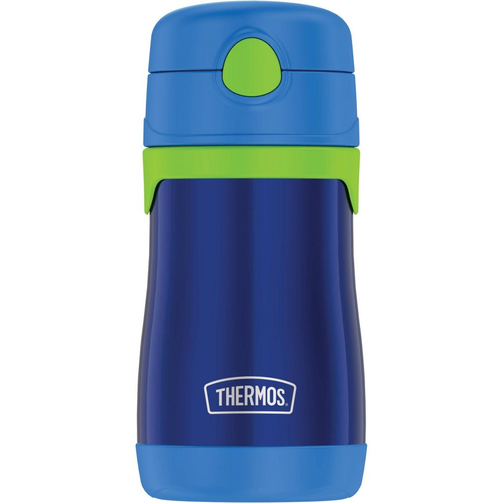 Thermos 10oz Stainless Steel Straw Bottle Blue Straws aren't just fun for kids, they're also functional. This Thermos kids water bottle with pop-up straw is for youngsters who still need a little help to keep their drinks from spilling when the lid is closed. The stainless steel bottle is easy for small hands to open and hold, so they can do it all by themselves. The Thermos™ vacuum insulation technology keeps drinks cold for up to 12 hours, helping to resist bacteria growth. By the way, the reusable straws can be easily removed, swapped, and replaced. You can pop the bottle and removable straw parts in the top rack of your dishwasher, but washing by hand is rmended. Not for use with hot liquids. Gender: unisex.
