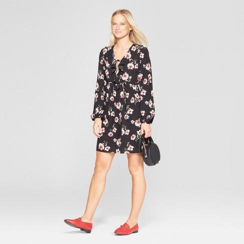 992371739d273 Women s Floral Print Long Sleeve Tie Front V-Neck Dress ...