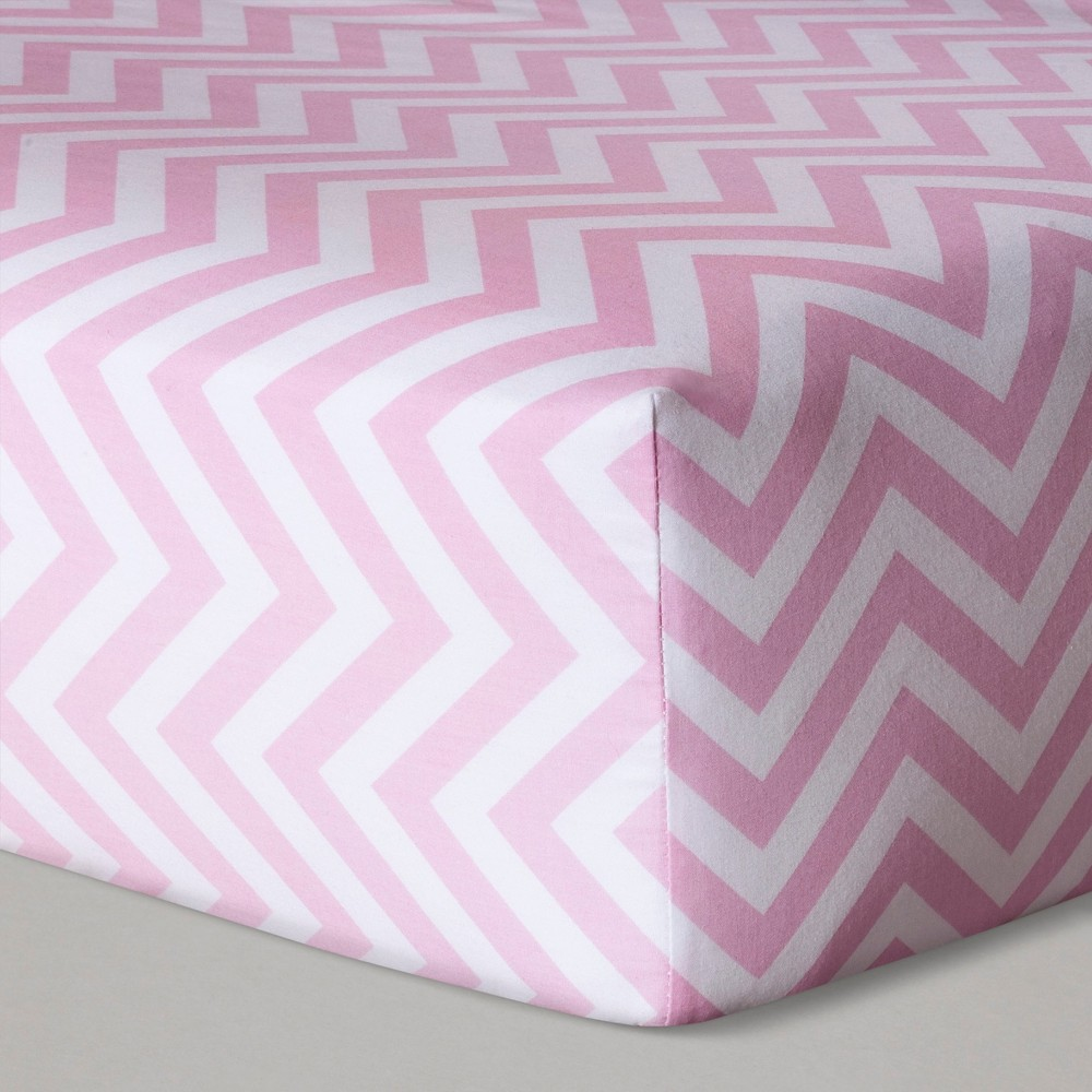Fitted Crib Sheet Chevron - Cloud Island Pink, White Pink
