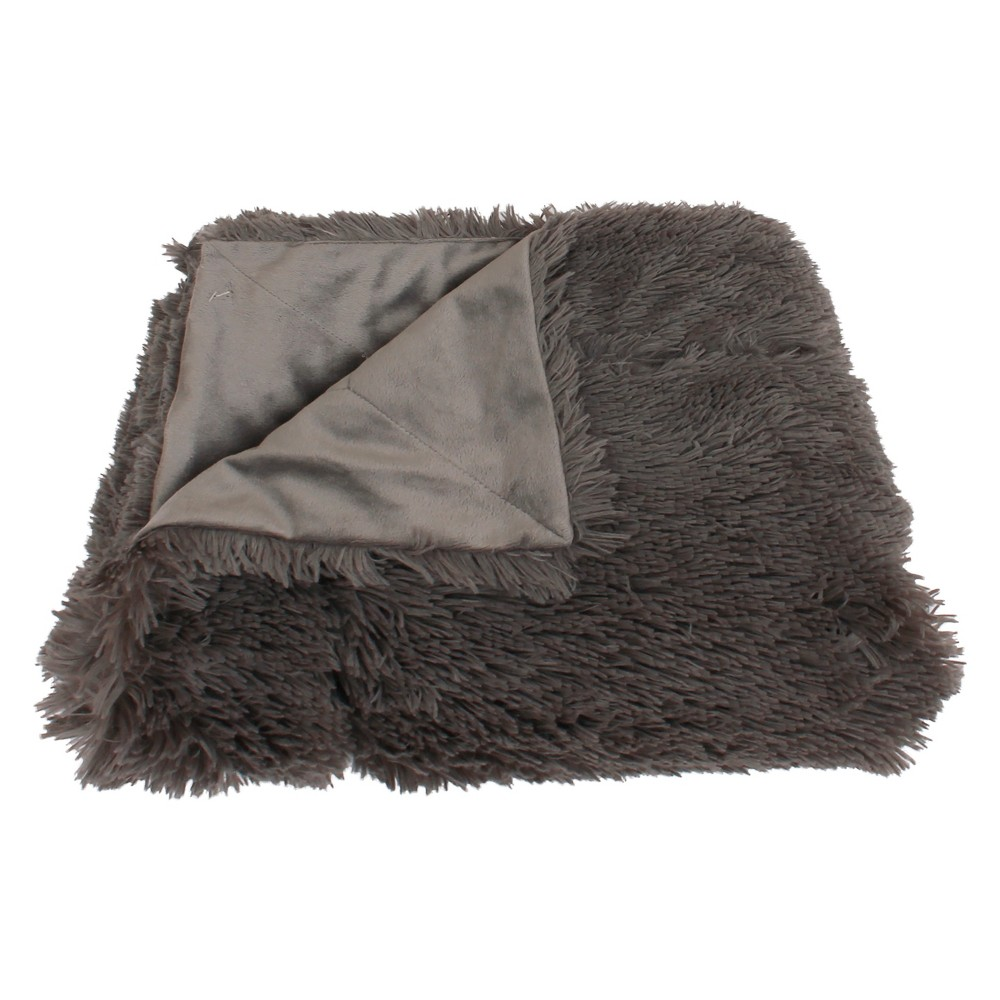 """Image of """"60""""""""x50"""""""" Chunky Faux Fur Throw Blanket Gray - Decor Therapy"""""""