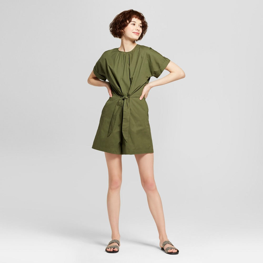 Women S Tied Front Romper Mossimo 8482 Olive L