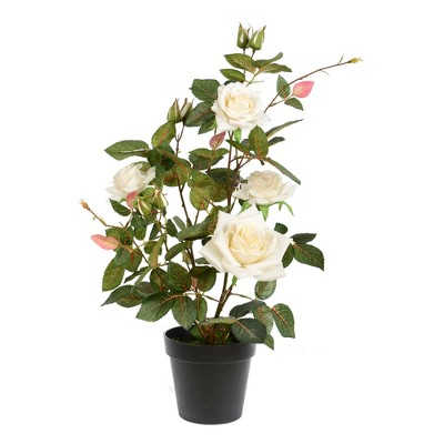 Vickerman Artificial Rose Plant in Pot.