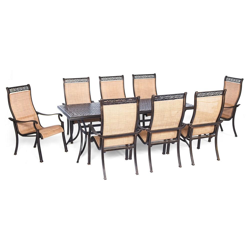 Hanover Manor 9-Piece Outdoor Dining Set, Lt Tan