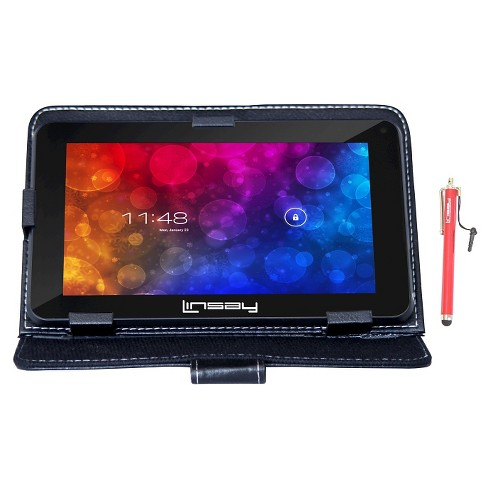 """LINSAY® 7"""" HD Quad Core 1GB RAM Android Tablet with Black Case and Stylus Pen - image 1 of 3"""