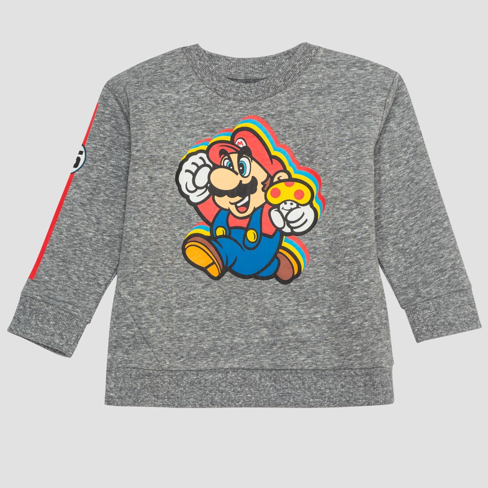 Toddler Boys' Super Mario Sweatshirt - Gray 3T