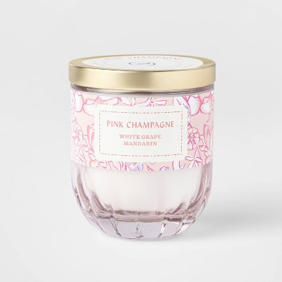 7oz Lidded Pink Coral Ribbed Base Glass Jar Pink Champagne Candle - Opalhouse™