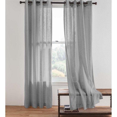 Single Sheer Linen Window Curtain Panel With Grommets Gray Plow Hearth