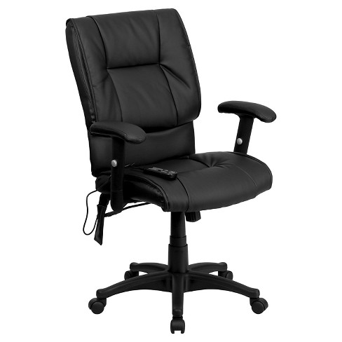 Massaging Executive Swivel Office Chair Black Leather - Flash Furniture - image 1 of 1