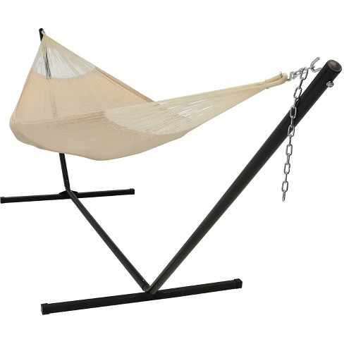 Hand-Woven Mayan Hammock and Stand Matrimonial Size - Natural - Sunnydaze Decor - image 1 of 4