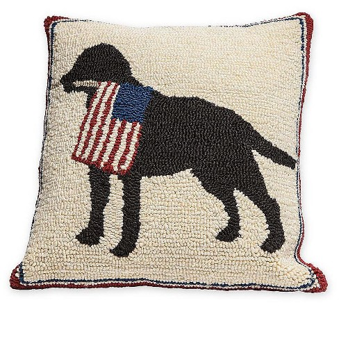 Plow Hearth Patriotic Dog Holding American Flag Decorative Indoor Outdoor Throw Pillow Target
