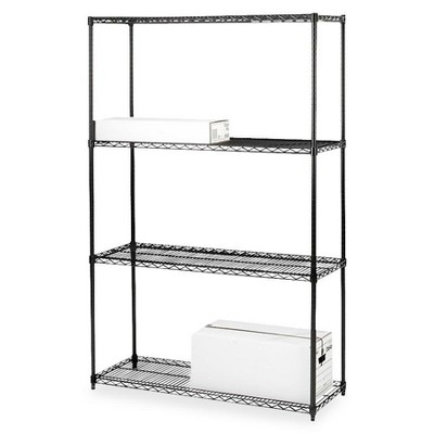 "Lorell Starter Shelving Unit 4 Shelves/4 Posts 36""x18""x72"" Black 70060"