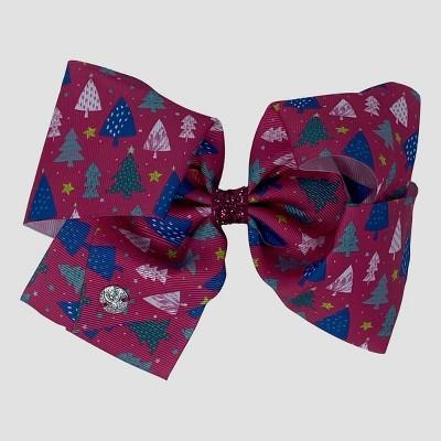 Girls' JoJo Siwa Christmas Tree Print Bow Hair Clip - Pink