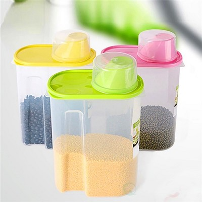"Basicwise ""Large BPA-Free Plastic Food Saver, Kitchen Food Cereal Storage Containers with Graduated Cap, Set of 3"""