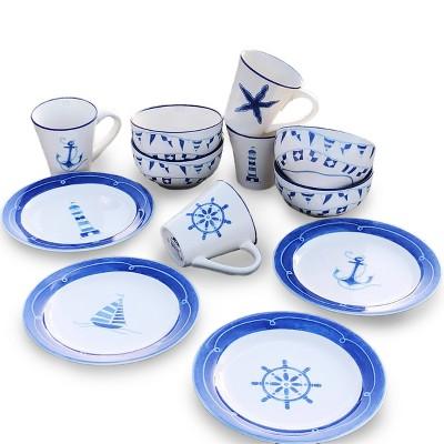 12pc Ceramic Ahoy Nautical Dessert Set - Euro Ceramica