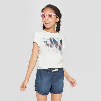 3e49ae84e8a35 Girls  Short Sleeve Dogs Printed T-Shirt - Cat   Jack™ White