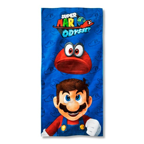 Super Mario Beach Towel Blue and Red - Nickelodeon - image 1 of 1