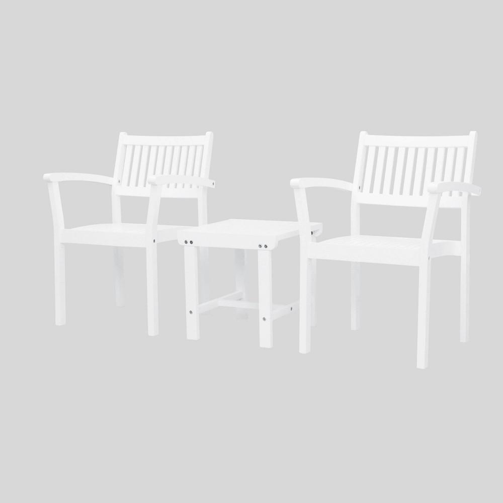 Bradley 3pc Wood Outdoor Patio Conversation Set - White - Vifah