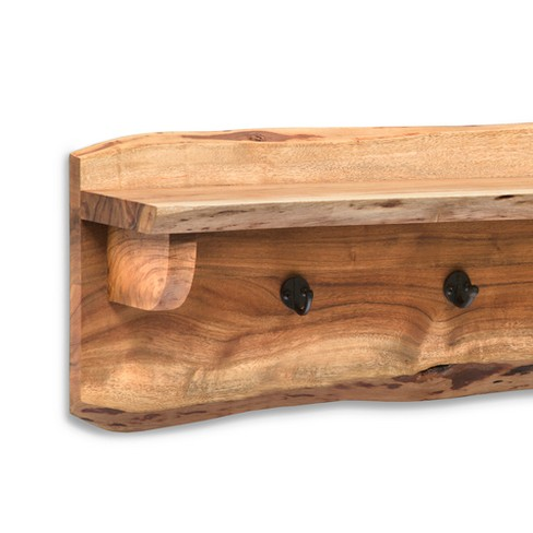 alaterre furniture alpine natural brown live edge wood coat hooks