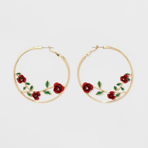 Roses And Leaves On Hoop Earrings Wild Fable Gold