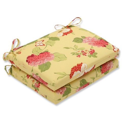 Outdoor 2-Piece Square Seat Cushion Set - Yellow/Red Floral - image 1 of 1