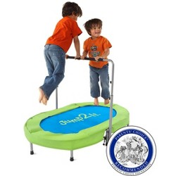 Jump2it Indoor Super Bouncy Trampoline With Adjustable Handle For 1 Or 2 Kids, Stores Easily, Holds Up To 180 Lbs. - Hearthsong