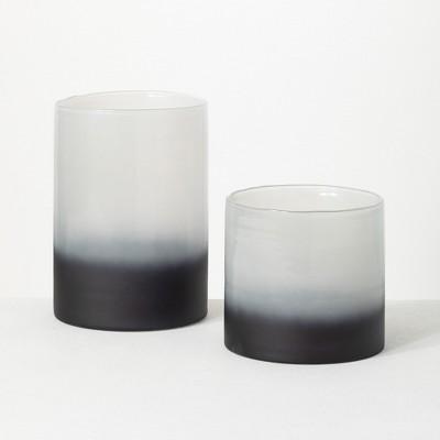 """Sullivans 2-Toned Glass Vase Set of 2, 10.5""""H & 7""""H Black"""