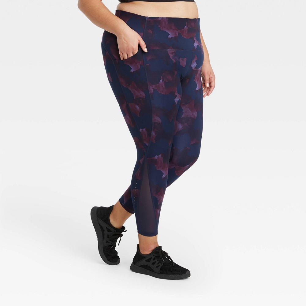 Women 39 S Plus Size Sculpted Linear Camo Print High Waisted 7 8 Leggings 25 34 All In Motion 8482 Purple 3x