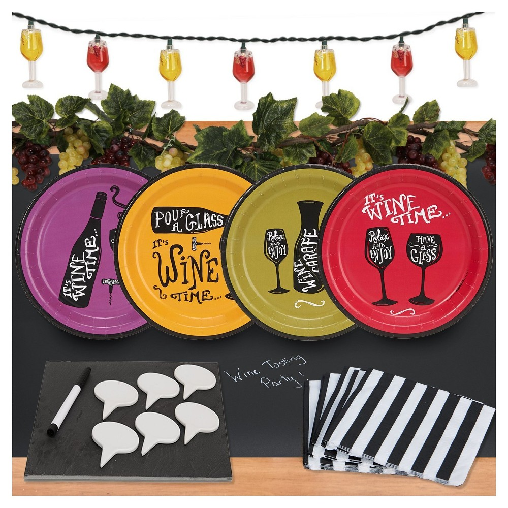 32ct Wine Time Appetizer Pack with Chalkboard Runner Cheese Board & Décor Wine Kit Includes: (16) beverage napkins, (8 each) of 4 styles of wine cocktail plates, (1) chalkboard table runner, (1) string of wine glass lights, (2) strings of Grape Garland, (1) Slate Cheese Board with Tags and Erasable Marker Color: Multi-Colored. Gender: Unisex.