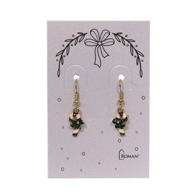 "Jewelry 0.75"" Festive Christmas Earring Santa Hat Candycane  -  Costume Jewelry"