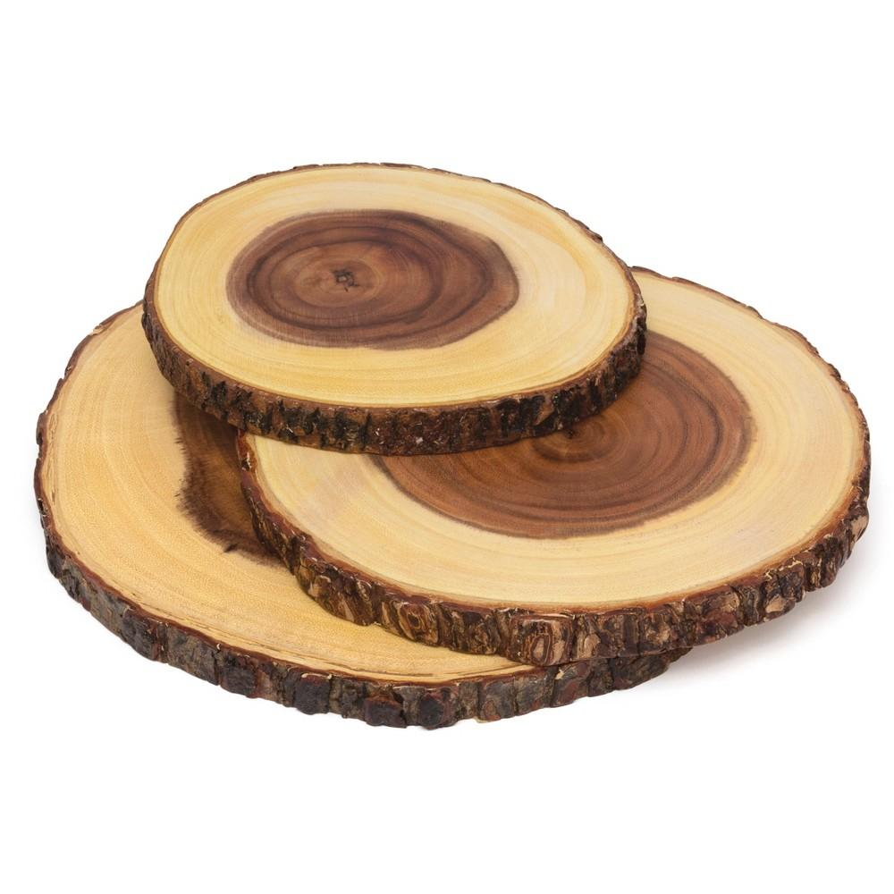 Image of Lipper International Acacia Bark 3-Tier Swivel Server, Brown