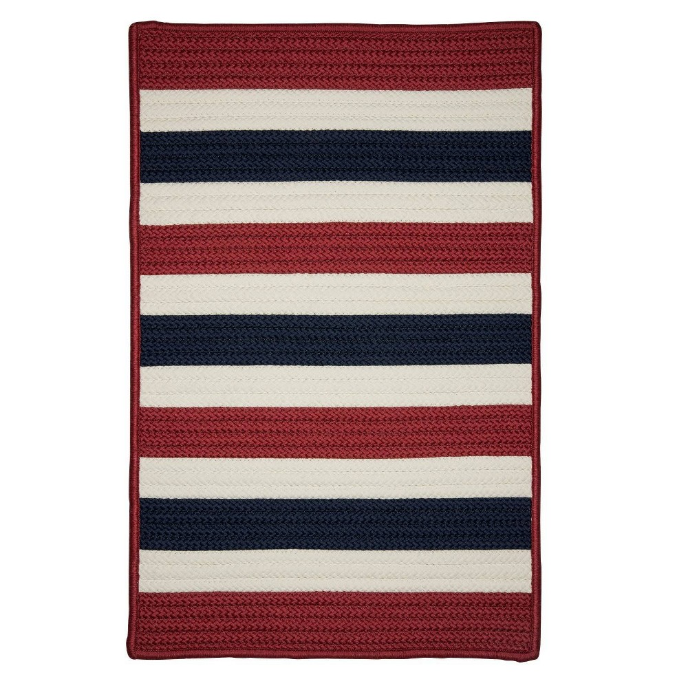 Railroad Stripe Braided Area Rug Red/White