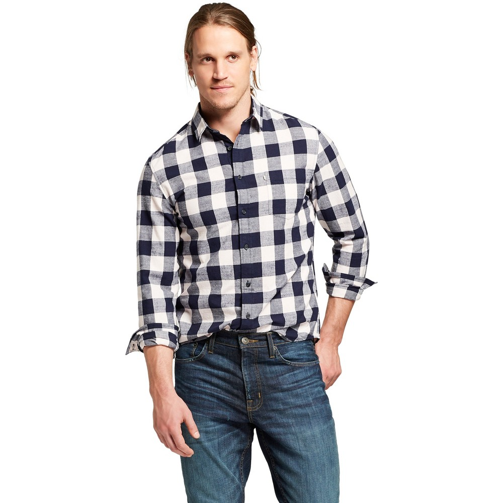 Men's Long Sleeve Cotton Slub Texture Button-Down Shirt - Goodfellow & Co Xavier Navy (Blue) XL