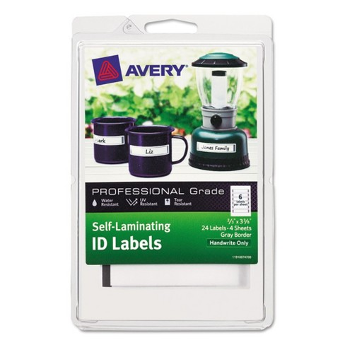 Avery® Professional Grade Self-Laminating ID Labels, 3 3/8 x 2/3, White/Gray, 24/Pack - image 1 of 2