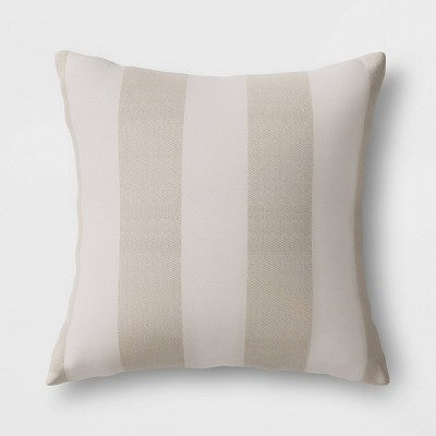 Cabana Stripe Outdoor Throw Pillow DuraSeason Fabric™ Tan - Threshold™