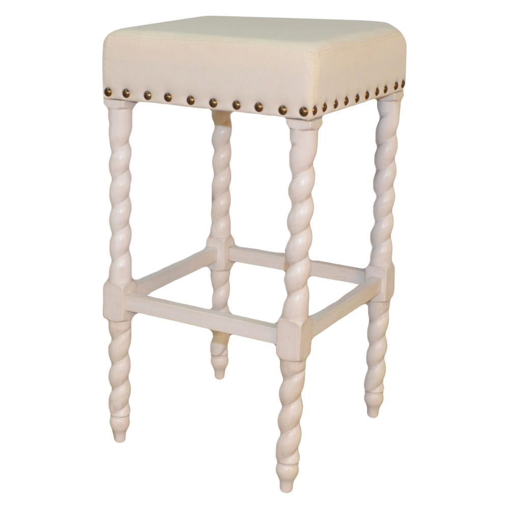 """Image of """"Cadmus 30"""""""" Bar Stool - Vintage White/Linen - Carolina Chair and Table, Vintage White/Ivory"""""""