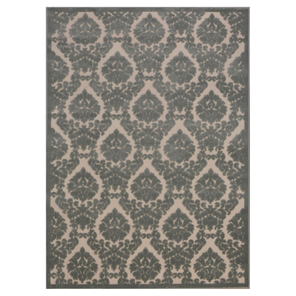 "Image of ""Nourison Damask Ultima Accent Rug - Ivory/Green (2'2""""X3'9"""")"""