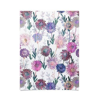 """18""""x24"""" Schatzi Brown Gillian Floral White Unframed Wall Poster Print Purple - Deny Designs"""
