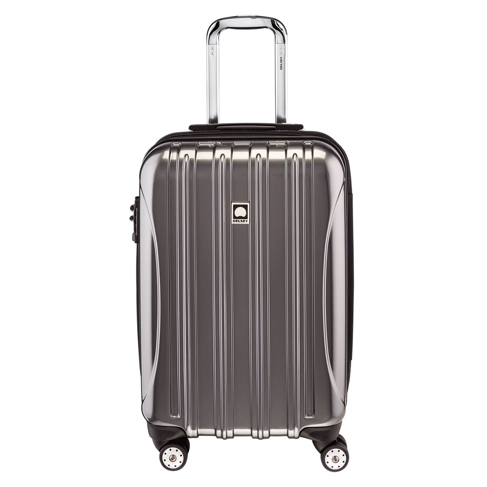 "Image of ""DELSEY Paris Aero 21"""" Expandable Carry On Spinner Suitcase - Platinum, White"""