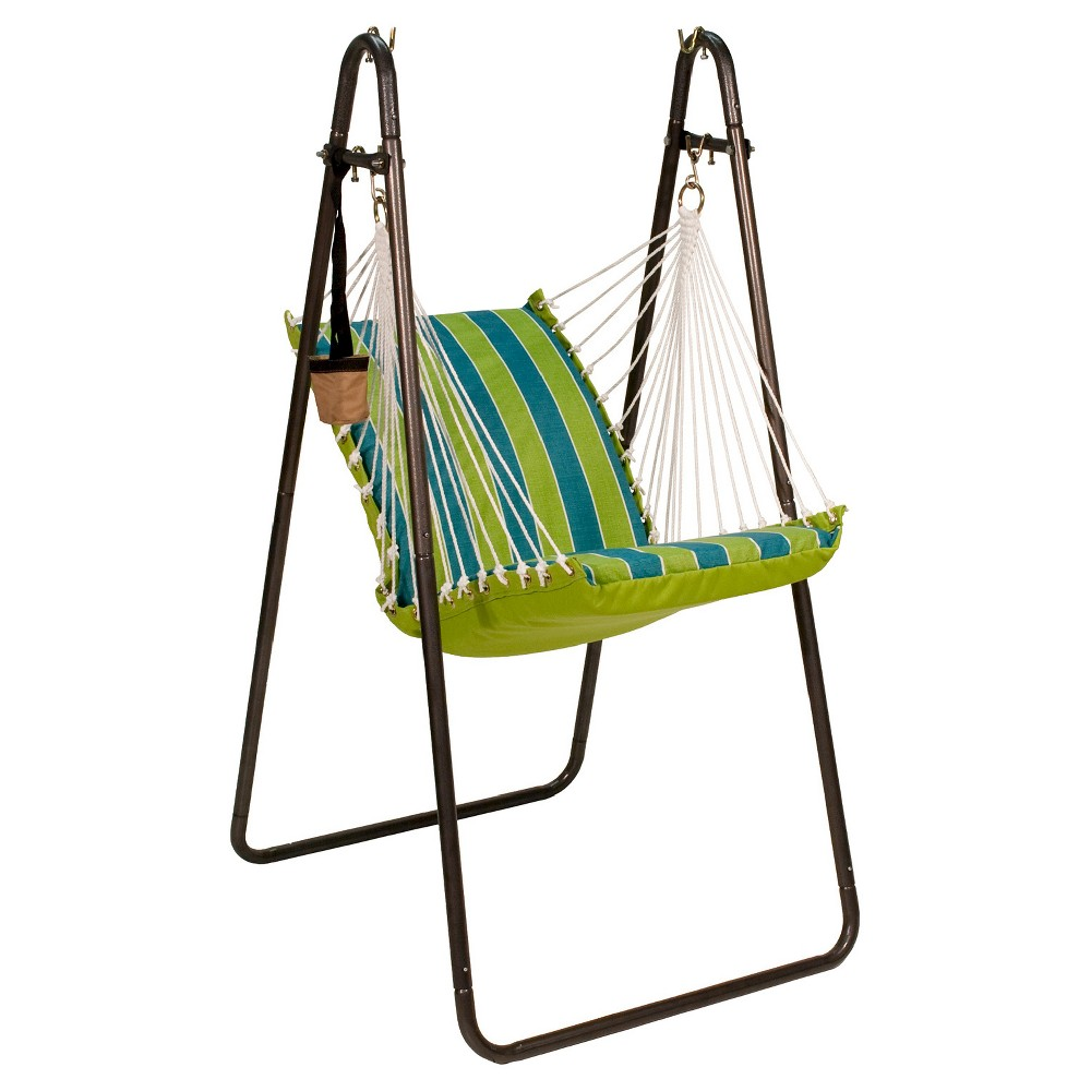 Algoma Soft Comfort Hanging Chair with Stand - Wickenburg Teal (Blue)/ Cobble Willow