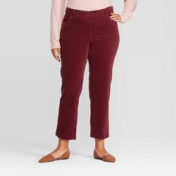 Women's Plus Size Slim Straight Fit Corduroy Pants - Ava & Viv™