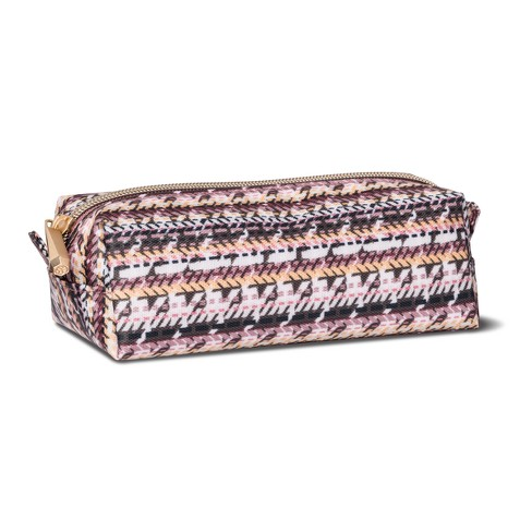 Sonia Kashuk Cosmetic Bag Large Pencil Case Broken Houndstooth