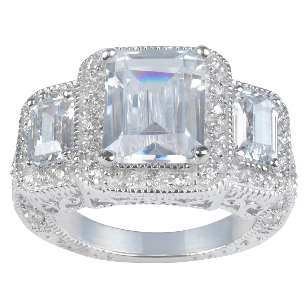 2 1/10 CT. T.W. Princess-Cut CZ Basket Set Polished Engagement Ring in Sterling Silver - Silver, 8, Girl's