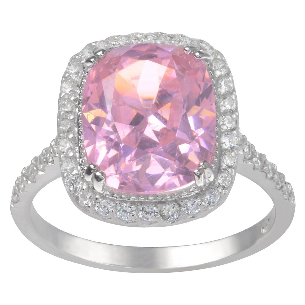 4 1/8 CT. T.W. Cushion-Cut Cubic Zirconia Basket Set Halo Ring in Sterling Silver - Pink (8), Girl's