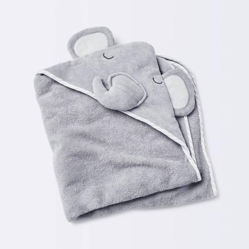 Baby Elephant Hooded Towel - Cloud Island™ Gray - image 1 of 4