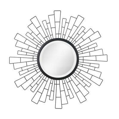 "23.5"" x 23.5"" Metal Geometric Sunburst Decorative Wall Mirror Black - Stonebriar Collection"