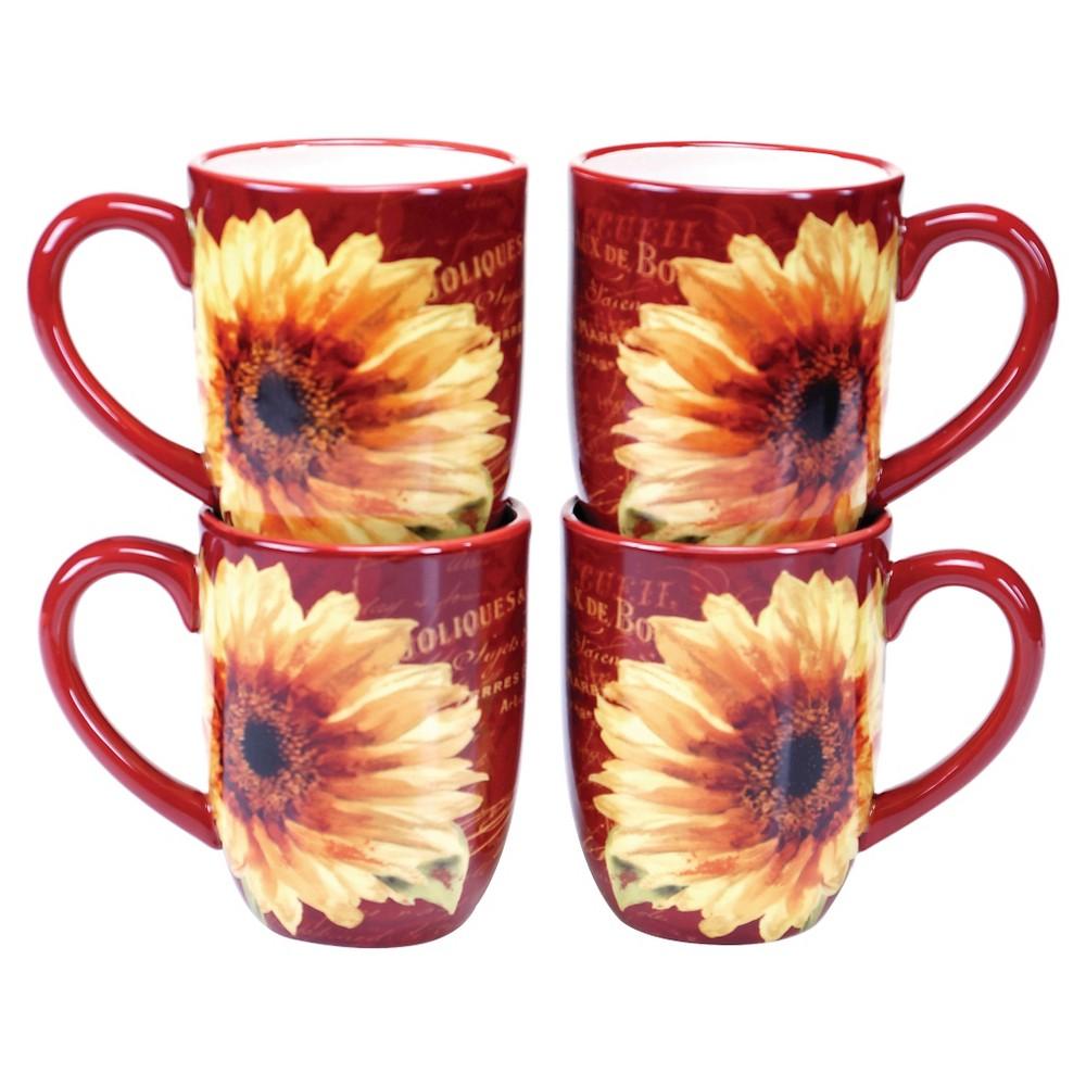 Certified International Paris Sunflower 18oz 4pk Mugs Yellow