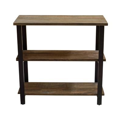 "31"" Pomona 2 Shelf Bookshelf Metal and Solid Wood Natural - Alaterre Furniture"