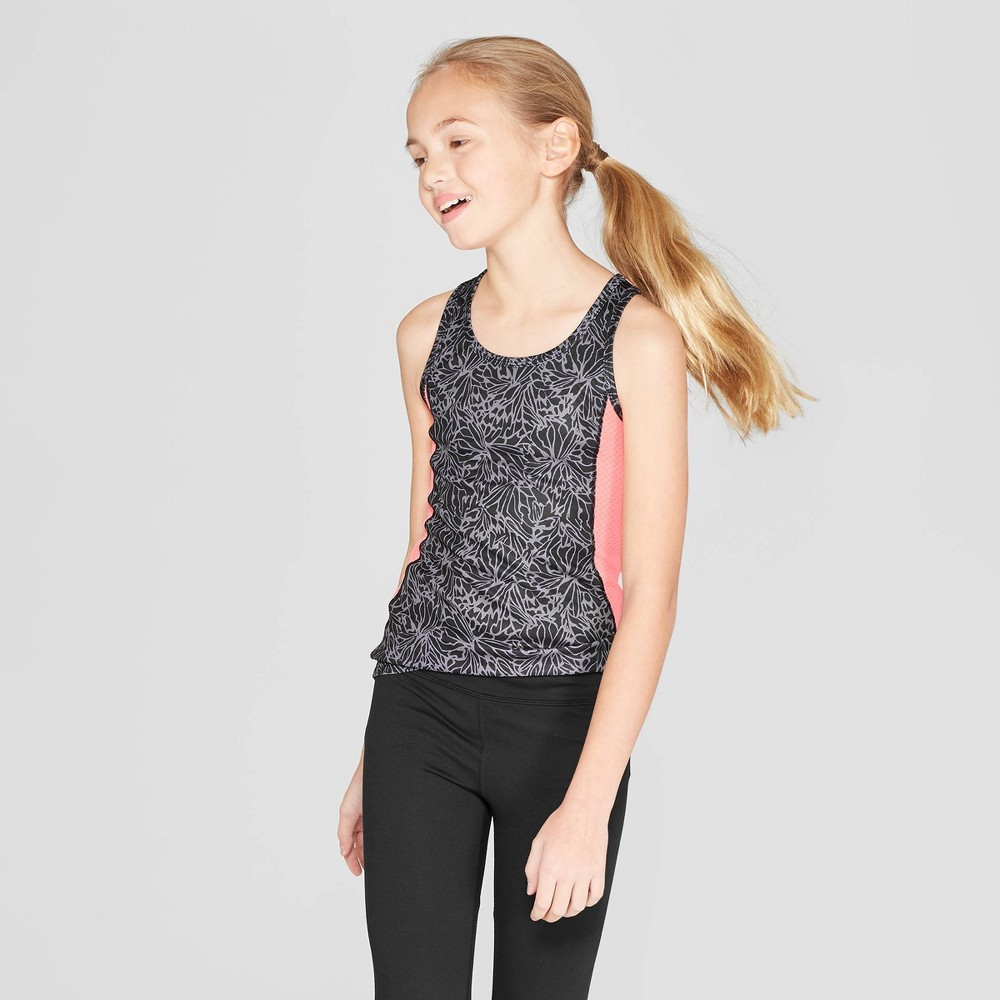 Image of Girls' Printed Performance Tank - C9 Champion Black S, Girl's, Size: Small