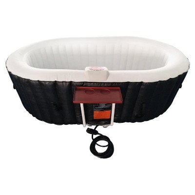 Aleko 145 Gallon Water Capacity PureSpa 2 Person Square Inflatable High Powered Bubble Jetted Hot Tub with Fitted Cover, Black and White